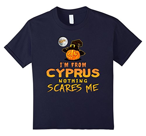 Cyprus Costumes (Kids I'm From Cyprus Nothing Scares Me Tee 12 Navy)