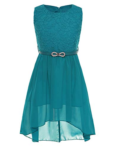 - CHICTRY Big Girls' Kids' Chiffon Floral Lace High-Low Dance Prom Party Gown Flower Girl Dress with Belt (6, Belted Teal)