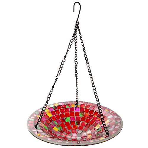 Lily's Home Hanging Colorful Mosaic Glass Bird Bath Bowl - 11