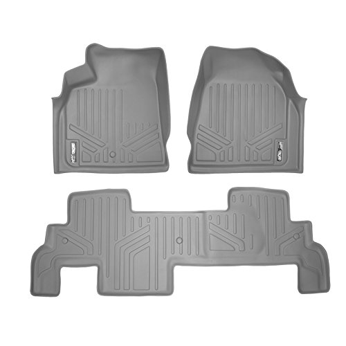 Denali 2nd Row Bench Seats - SMARTLINER Floor Mats 2 Row Liner Set Grey for Traverse/Enclave/Acadia/Outlook with 2nd Row Bench Seats