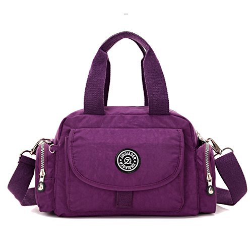 Lightweight Shoulder TianHengYi Purse Handbag Nylon Girls Water Top Handle Satchel Crossbody Purple Resistant tqwFaqTz
