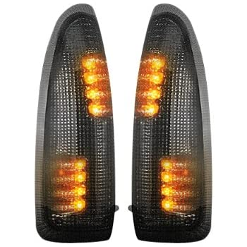 RECON, 264120BK - Ford F250/F350 Super Duty and Excursion Side Mirror Lenses w/ LED Amber Turn Signals - Smoked Lens