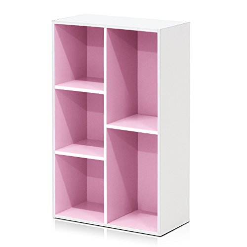 Furinno 5-Cube Reversible Open Shelf, White/Pink 11069WH/PI