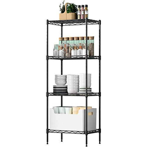 Sol brothers 4-Tier Wire Shelving Unit Metal Storage Rack Durable Organizer Perfect for Pantry Closet Kitchen Laundry Organization (Black)