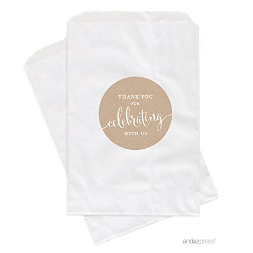 Andaz Press Dessert Table Party Favor Bags, Thank You for Celebrating with Us, Kraft Brown, 24-Pack, for Wedding Baby Shower Graduation Candy Buffet Treat Bags