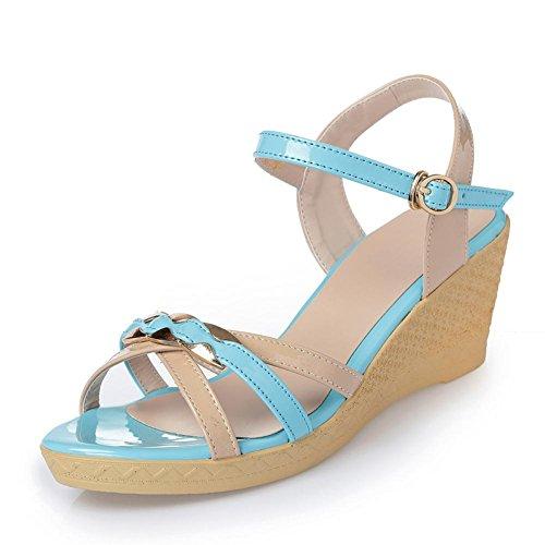 tacones de 40 grueso altos de de mujer Pendientes verano azul y para YC cuero colores L Sandalias Girls PqvTYo4