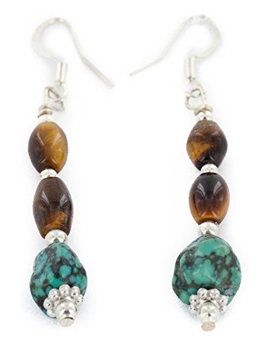 Native-Bay Authentic Made by Charlene Little Navajo Silver Hooks Natural Turquoise Tigers Eye American Earrings