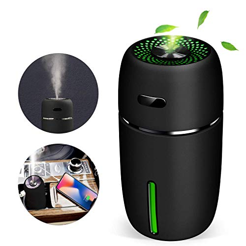 Mini Humidifier with USB Cool Mist Humidifiers for Home Office Baby Bedroom Portable Humidifier with 7 Colors LED Light for Travel Car Humidifier with Auto Shut-Off and Adjustable Mist Modes(Black)