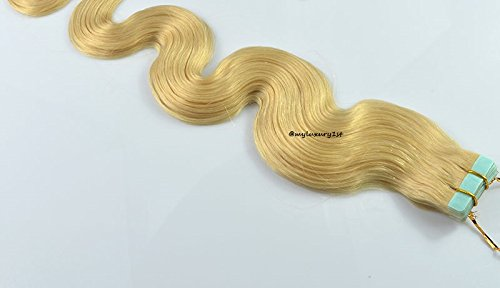 """18"""" Body Wave Remy Tape in Hair Extensions #613 Bleach Butter Blonde 45g"""