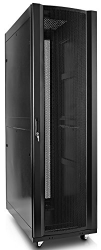 V7 RMEC42U-1N 42U Rack Mount Cabinet Enclosure (Fully assembled, vented door, adjustable mounting rails, cold rolled steel, 5 year warranty)