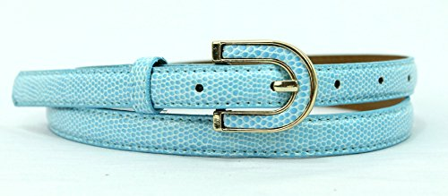 Sky Blue Snake - Womens Dressy Snake Leather Belt With Gold Buckle -Half Inch Thin - 9 Colors - Sky Blue - S/M