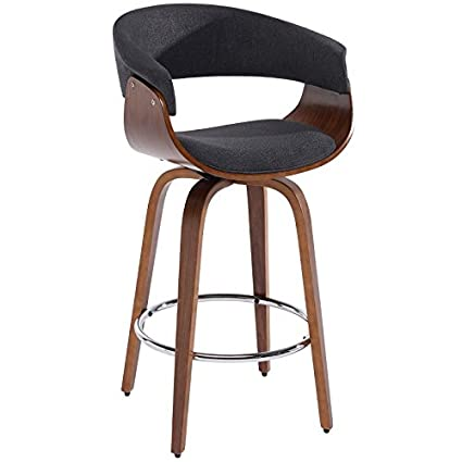 Awesome Cameron Fabric Upholstered Mid Century 26 Swivel Counter Height Kitchen Bar Stool In Charcoal Grey Theyellowbook Wood Chair Design Ideas Theyellowbookinfo