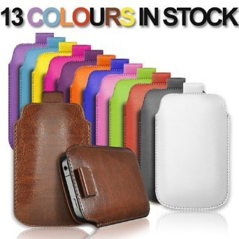 iPhone 5 Leder Slim Pull-Tab Tasche Hülle Pouch Etui Cover Case +2 x Folie PULL5 Pink fstAeITvi