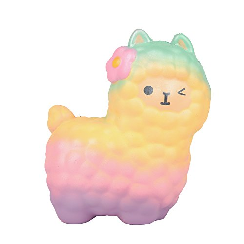 MENGWEI Alpaca Squishy, 6.5 Slow Rising Jumbo Squishies Sheep Scented Charms Kawaii Stress Relief Squishy Toys for Kids and Adults