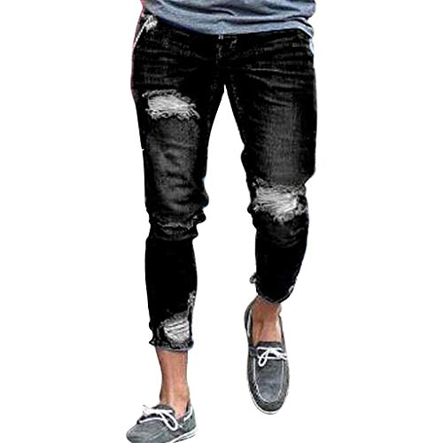 NUWFOR Men's New Summer Fashion Bottom-Piercing Jeans for sale  Delivered anywhere in USA