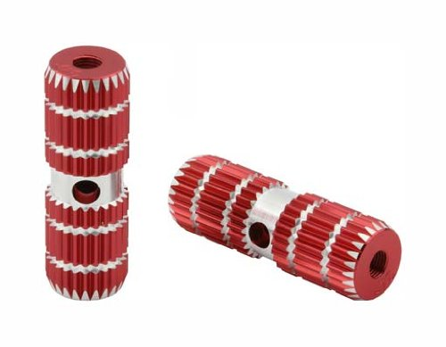 Alloy Pegs 691 24/26t W=1'' l=3'' Red. Pegs for bike, bicycles, bmx, lowrider, mountain bike, beach cruiser by Lowrider (Image #1)