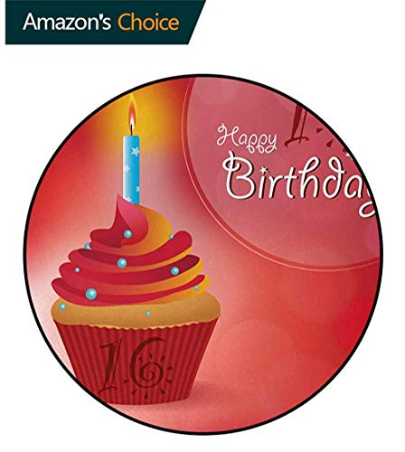 DESPKON-HOME 16Th Birthday Small Round Rug Carpet,Little Cupcake with Candlestick Greeting Message Romantic Print Door Mat Indoors Bathroom Mats Non Slip Round-71 Inch,Red Orange and Blue