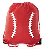 Mato & Hash Boys Drawstring Backpack Baseball Bags 1-10 Pack Bulk Options - 10PK Red CA2500Baseball S4