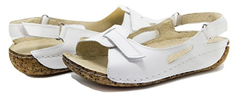 Cuir Chaussures Ks® Sandales Pour D'été Femmes Blanc 403 qxUx1OH