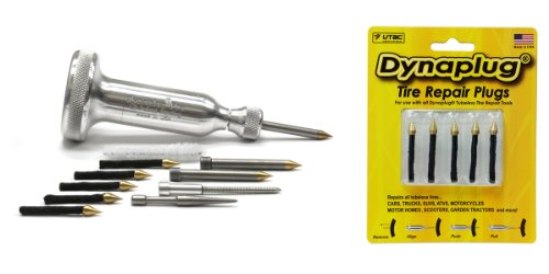 Dynaplug Tubeless Tire Repair Tool Kit, Xtreme Aluminum, along with Extra Repair Plugs 5-Pack by Dynaplug