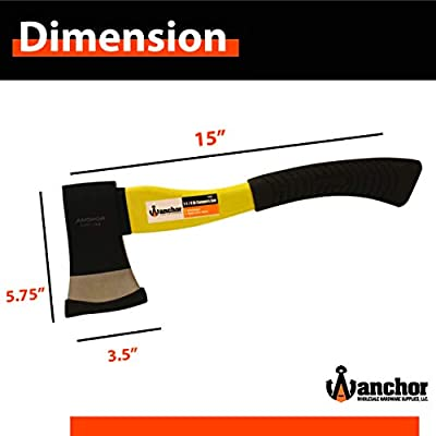 "Anchor Camping Hatchet – Hand Axe with Hi –Vis Fiberglass Handle and Anti Slip Grip – Two Tone Blade - 15"" : Garden & Outdoor"