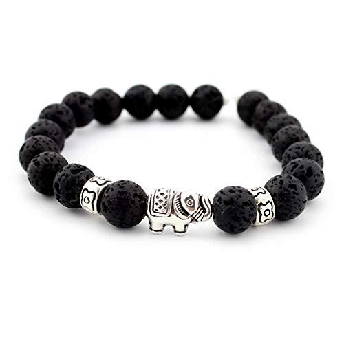 Giwotu Womens Natural Stone Bead Buddha Bracelets for Women Men Jewelry Black Lava Druzy Gift Bracelets Elephant Bangles Pulseras Lave Stone -