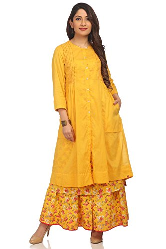 BIBA Women's Yellow Front Open Cotton Kurta Size 34 by Biba
