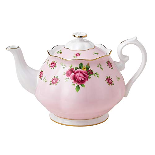 Royal Albert New Country Roses Formal Vintage Teapot, White/Pink