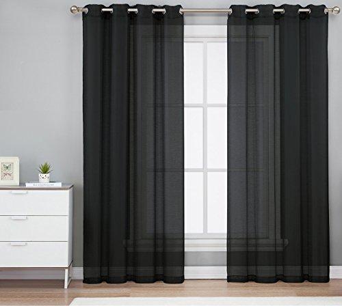 HLC.ME 2 Piece Sheer Window Curtain Grommet Panels (Black) - 95