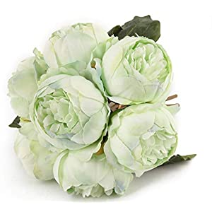 Artificial Flower Peony Silk 1 Bouquet 7 Heads 3 Leaves Vintage Home Decoration Party Wedding Pea Green 90