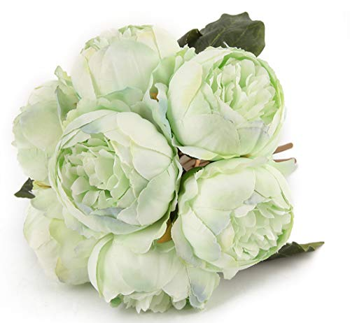 Artificial Flower Peony Silk 1 Bouquet 7 Heads 3 Leaves Vintage Home Decoration Party Wedding Pea ()