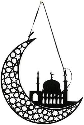 Negro Amosfun Eid Mubarak Decoraci/ón Colgante de Fieltro Adorno de Luna Decoraci/ón de Pared Eid Mubarak Regalo