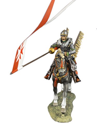 Medieval Cavalry Knight Winged Hussars Polish Hussars Rider Hand Painted Tin Metal 54mm Action Figures Toy Soldiers Size 1/32 Scale for Home Décor Accents Collectible Figurines ITEM - Hand Tin Painted