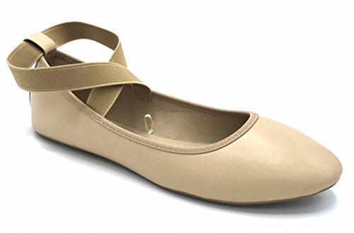 Vesto Damen Flats mit elastischen Knöchelriemen Bräunen