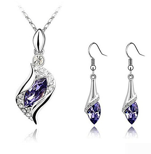 Element Amethyst Ring - CrazyPiercing Long Teardrop False Swarovski Element Set Austria Crystal Fashion Earrings Pendant Necklace (purple)