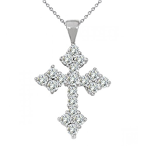 14k Antique Cross - 2.0 Carat G-H Diamond Antique Cross Men Unisex Pendant Necklace With 18