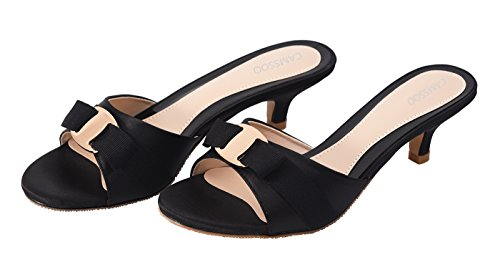 CAMSSOO Satin Open Toe Shoes Low Women's Summer Bowknot Slippers Heeled Sandals Black Satin Slip on 3 rqTrZna