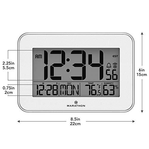 Marathon CL030060WH Wall Clock with Acrylic Bezel. Indoor Humidity.