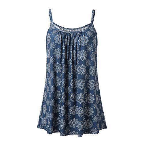 Driuankeji Women's Summer Casual Vest Blouse Sleeveless Ladies Sling Printed Halter Tank Tops Navy