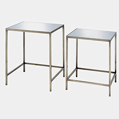 Metal Base End Table with Mirrored Top - 2 Piece Nesting End Table Set - Antique Brass (Round Nesting Side Tables Set Marble Antique Brass)