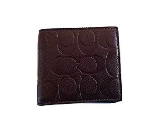 Wallet Coach Coach Mahogany Men's Leather Signature Men's Coin Credit Card w1qzx