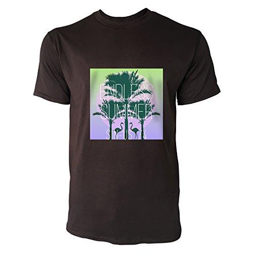 SINUS ART® Flamingos vor Sonnenuntergang Herren T-Shirts in Schokolade braun Fun Shirt mit tollen Aufdruck