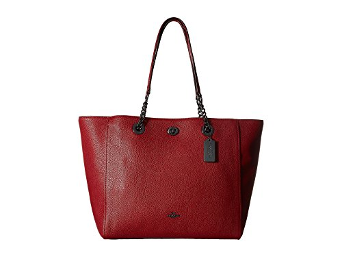 COACH Women's Pebbled Turnlock Chain Tote Dk/Cherry Handbag by Coach