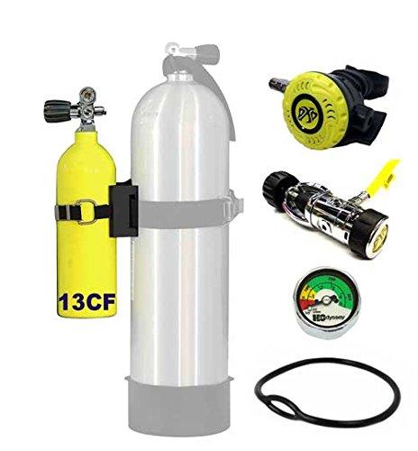 DXDIVER Bailout Pony Bottle Kit with Problue Pony Bracket 13 cf Tank Gauge Regulator Spare Backup Air Scuba Dive Egressor