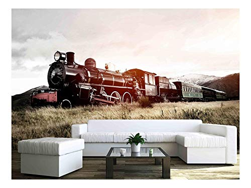 Train Mural - wall26 - Steam Train in A Open Countryside Transportation Concept - Removable Wall Mural   Self-Adhesive Large Wallpaper - 66x96 inches
