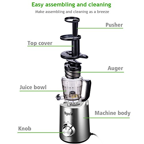 Argus Le Slow Masticating Juicer, High Juice Yield with Drier Pulp, Easy Cleaning and Operating Cold Press Juicer, Fruit and Vegetable Juice Extractor by Argus Le (Image #4)