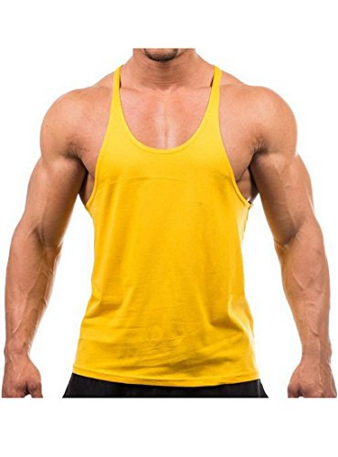 Yaker Mens Tempo Running Singlet, Medium, Yellow