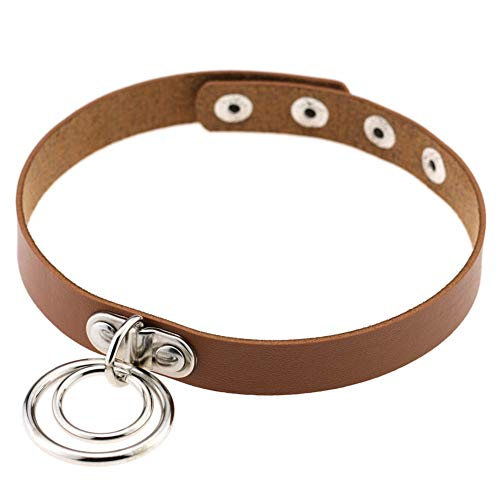 soAR9opeoF Punk Gothic Unisex Adjustable Double Loop Faux Leather band Sexy Bound Choker Necklace Collar Women Fashion necklace chain ring Party wedding Banquet Valentine Birthday Gifts Light Coffee