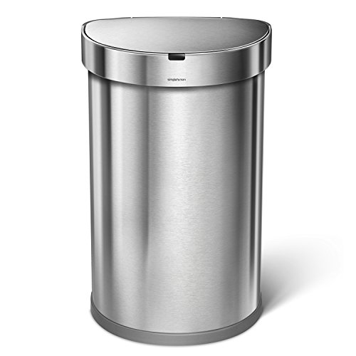 simplehuman 45 Liter / 12 Gallon Stainless Steel Semi-Round Sensor Can, Touchless Automatic Trash Can, Brushed Stainless Steel