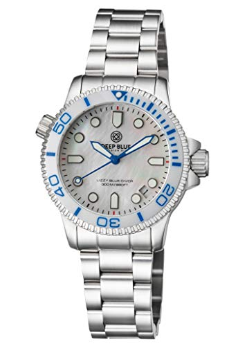 (Ladies Lizzy Blue Diver Ceramic White/Blue Bezel White Mother of Pearl DIAL)